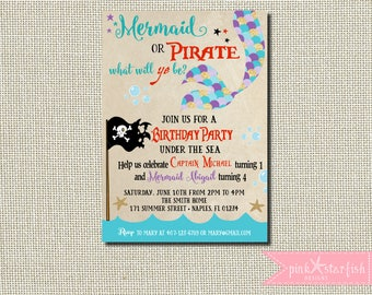 Mermaid and Pirate Invitation, Mermaid and Pirate Birthday Invitation, Dual Birthday Invitation, Sibling Birthday Invitation, Pirate