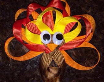 Turkey Hair Bow...Thanksgiving Hair Bow