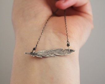Feather Necklace, Silver, Hand-Cut