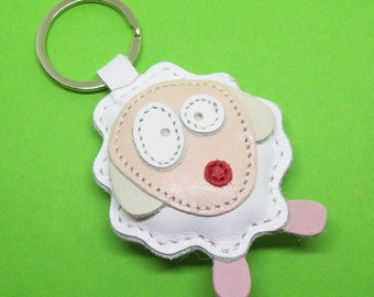 White Sheep Handmade Leather Keychain - FREE Shipping Worldwide - White Sheep Leather Bagcharm