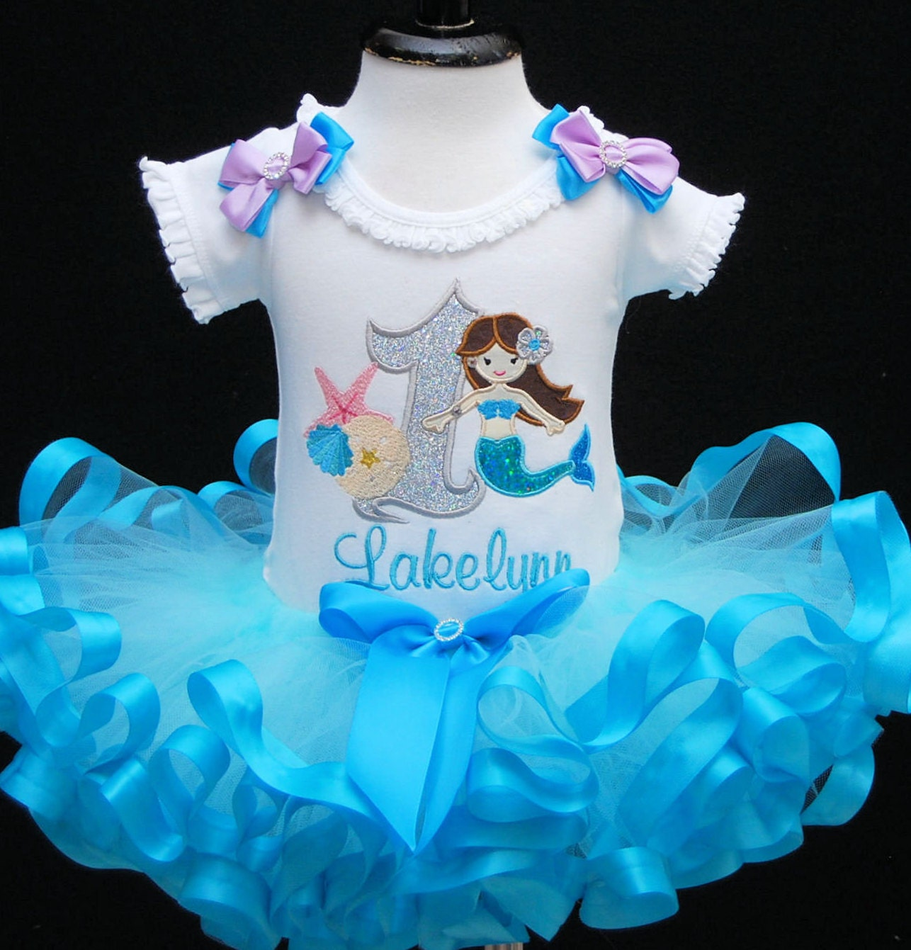 1st Birthday Girl Outfit Mermaid Personalized Shirt First Cake Smash Baby T