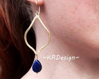 Gold-Lapis-Dangle-Teardrop-Earrings / Free US Shipping