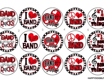 I Love Band Pinback Button Badge or Magnet 1 inch set of 10