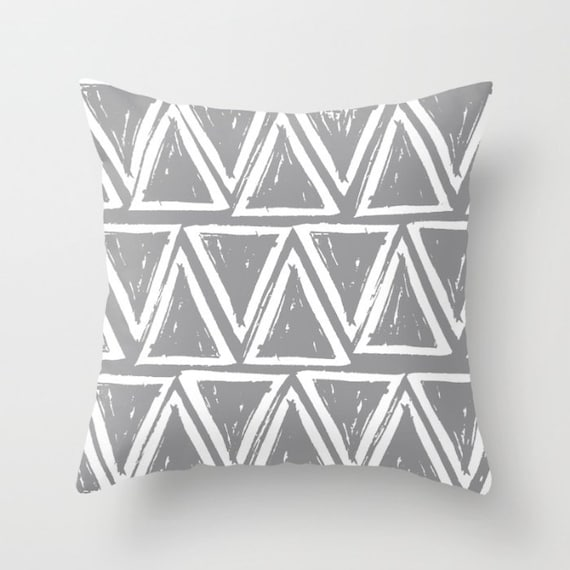 OUTDOOR Throw Pillow . Grey and White Outdoor Pillow . Gray patio cushion . Modern Geometric Pillow Triangle . 16 18 20 inch . Rectangle