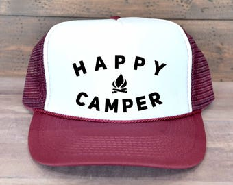 Happy Camper Trucker Hat, Camping Trucker Hat, Hiking Trucker Hat, Foam Trucker Hat, Trucker Hat, Women's Trucker Hat, Beach Trucker Hat