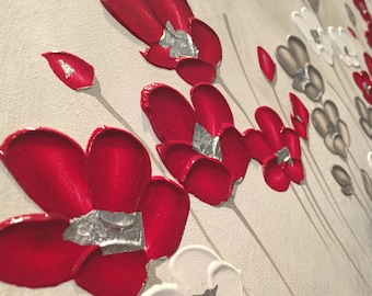 Raspberry, Platinum and Panna Cotta Poppies 40x120cm by Naomi Crowther