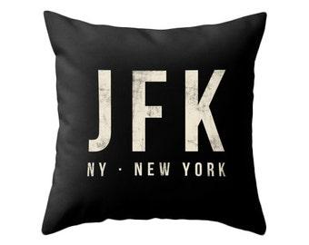 New York airport pillow black home decor jfk throw pillow New York pillow jfk cushion jfk pillow cover NY pillow NY throw pillow NY pillow