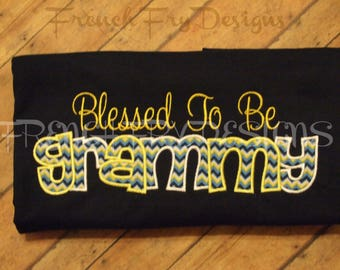 GRAMMY applique Long Sleeve T-Shirt for Grandmother Customized and Personalized with Kids Names