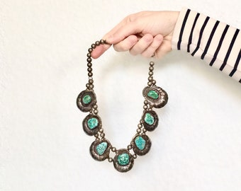 Vintage Large Blue Turquoise American Handmade Statement Necklace in 925 Sterling Silver, 140 grams, 16 inches
