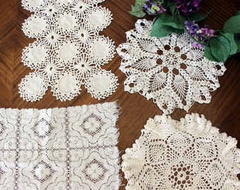 Crochet Doilies, 4 Assorted Knit Doily Lot, Vintage Doily Collection, White and Cream 13697