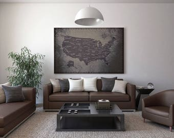Push Pin Travel Map - Customized for You - US Push Pin Map - Custom, Framed, Printed, Canvas