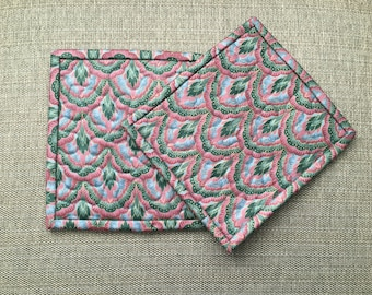 Quilted Pot holders , Potholders,pot holders, Fabric Pot holders, Contemporary Potholders ,7 x 8 inch ,Christmas gift