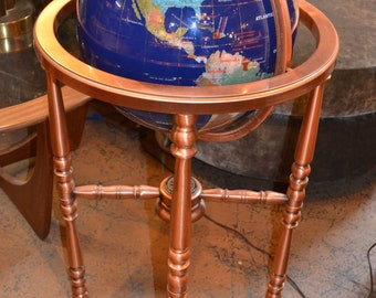Lapis Gemstone Globe with Copper Floor Stand