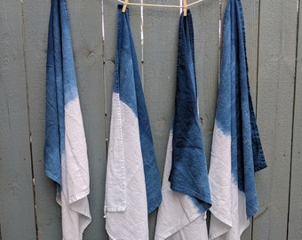 Dip Dye Indigo Cotton Flour Sack Tea Towels- Set of 2