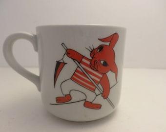 Vintage Arabia Finland childs mug rabbit striped