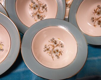 Set of 8  5 7/8 in. Homer Laughlin Fruit Dessert bowl Turquoise Floral line CV69