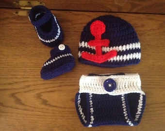 Crochet baby sailor Outfit
