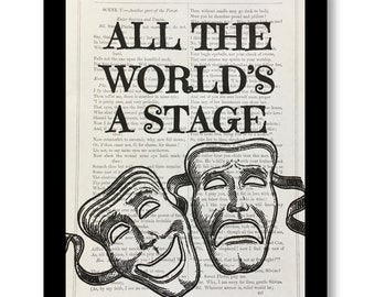 "William Shakespeare ""As you like it"", Shakespeare Quote,Shakespeare Book Print- ""All The World's A Stage"" , Shakespeare Book Page Size 7x10"