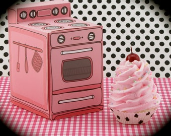 """Fake Cupcake and Pink Retro Oven Gift Box Set """"Sweet Oven Lovin' Collection"""" Mini Pink Cupcake Magnet Fab Birthday Gift/ Photo Prop"""