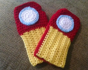 Crochet Iron Man Inspired Gauntlet Fingerless Gloves