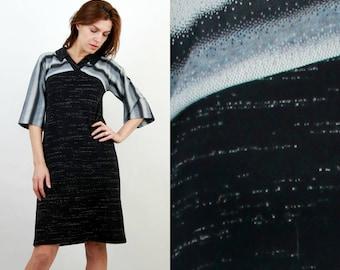 70s Dress / Vintage Dress / Bohemian Dress / Striped Dress / Midi Dress / Boho Dress / Retro Dress / Medium Dress / Loose Dress /Black Dress