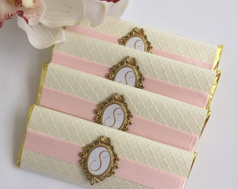 baptism chocolate bar favors, custom chocolate bar wrappers, Candy bar wrappers, pink and gold baptism favors, pink and gold wedding favors