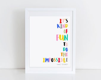 Disney Quote Print Inspirational Artwork Colorful Nursery Wall Gallery Minimalist Typography Print Kids Bedroom Wall Art Walt Disney Quote