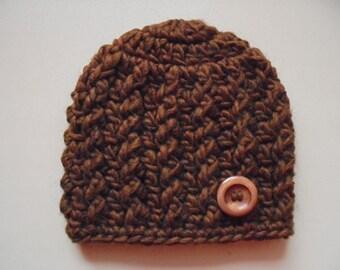 Newborn boy hat, brown baby hat, newborn hat, boy hospital hat, coming home outfit, baby boy hat, crochet baby hat, winter baby hat