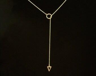 Lariat Arrow Necklace in Gold - Y Arrow Necklace in Gold