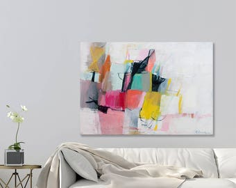 Large wall art Abstract painting on Canvas Modern wall art Above Bed wall art Large Canvas Painting Pink Aqua by Duealberi