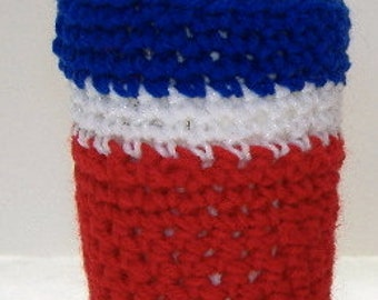 Coffee Cup Cozi Cover Tea Sweater Cozy Red White Blue Crochet, Insulated Beverage Warmer Hot Warm Cold