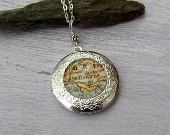 Custom Map Locket, Map Necklace, Your Location Choice, Map Jewelry