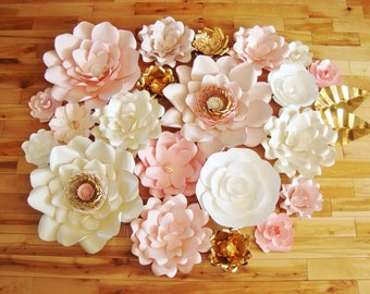 Paper Flowers Set of 21 - Paper Flower Backdrop | Paper Flowers Wedding | Wedding Decoration | Baby Nursery Decor | Paper Flower Wall