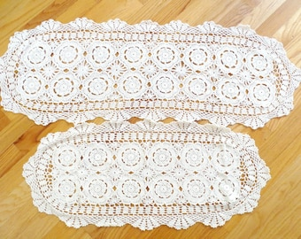 """4 Vintage Crochet Dresser Scarfs/Doilies, 30-47"""" Long, 1 Filet Lace, for Upcycling Craft Projects or Home Use"""