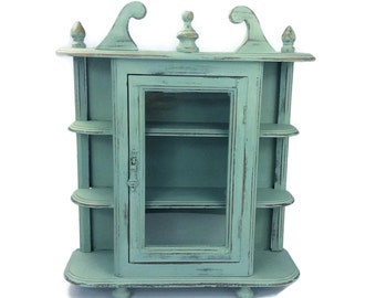 CABINET,  Display Case, Wooden Curio Cabinet, Cottage Chic Decor, Home And Storage, Blue Storage Case, Hangin Diplay Case, Wall Decor