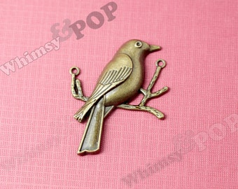 Antique Bronze Large Bird Connector Charm Pendants , Bird Charm, Sparrow Connector Charm, 51mm x 39mm (R9-032)