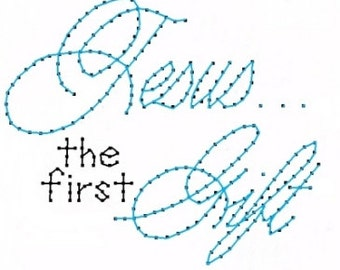 Jesus First Gift Christmas  Embroidery Pattern for Greeting Cards