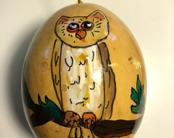 Great Horned Owl on a Limb Hand-Painted Gourd Christmas Ornament by Artist Sandy Short     handpaintedgourds.com