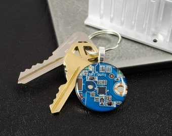Blue Computer Chip Keychain, Geekery Gift, Recycled Circuit Board Keychain, Computer Programmer, Computer Science, Upcycled Motherboard Art