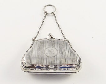 Antique English Sterling Silver Coin Purse  / Late Edwardian 1917 / Gift for Her