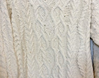 Hand Knit Fisherman Sweater Sz L
