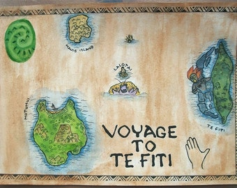 Print of Moana inspired voyage to Te Fiti map