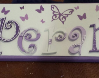 Butterfly personalized custom wood plaque sign nursery kids purple