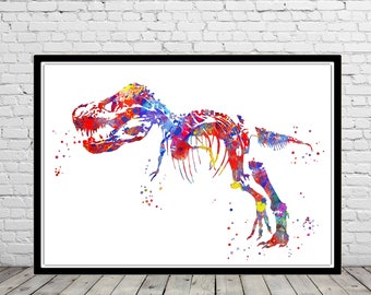 T Rex, Dinosaur, animal art, Dinosaur,Wall Art, print, watercolor T Rex, T Rex poster, T rex skeleton, dinosaur skeleton, Tyrannosaurus Rex
