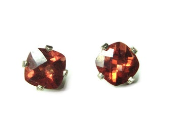 SALE 14k white gold red labradorite post earrings