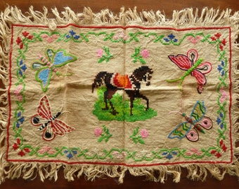 Hand-embroidered table mat - Mexican?
