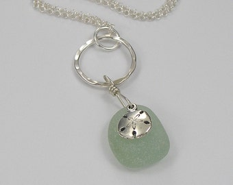 Genuine Sea Glass Necklace with Sterling Sand Dollar Charm