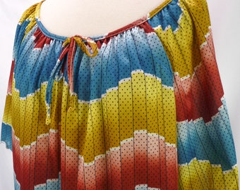 Vintage 80s Rainbow Dots Ombre Bold Stripe Zig Zag Top Summer Blouse Plus Sz 1X Oversized Tunic Ruffle Scalloped Tie-neck Striped Pride
