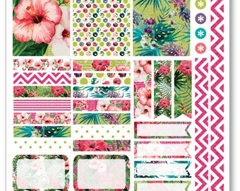 Tropical Decorating Kit / Weekly Spread Planner Stickers for Erin Condren Planner, Filofax, Plum Paper