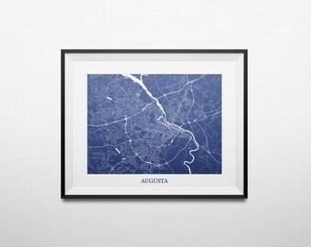 Augusta, Georgia Abstract Street Map Print